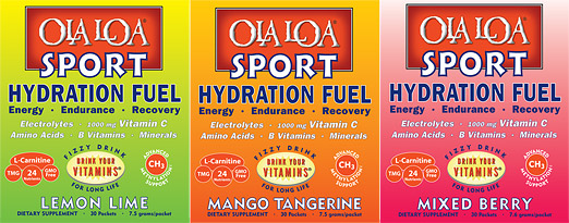 Image showing the 3 flavors of the Ola Loa ENERGY product